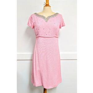Vintage 1950's Pink dress with Rhinestones Medium